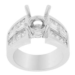 Marina Princess & Baguette Semi-Mount Ring - 1.95 ctw.