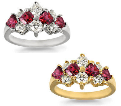Ruby & Round Diamond Ring - 1.00 ctw. Rubies