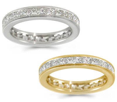 Channel-Set Princess-Cut Diamond Eternity Ring - 2.05 ctw.