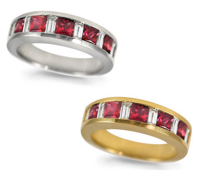 Ruby & Baguette Diamond Ring - 1.10 ctw. Rubies