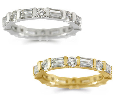 Round and Baguette Diamond Eternity Ring - 1.90 ctw.