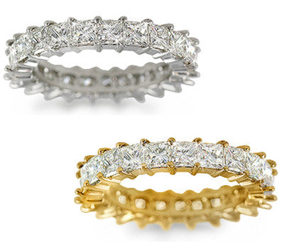 Prong-Set Princess Cut Diamond Eternity Band - 3.85 ctw.