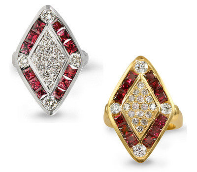 Diamond-Shaped Ruby & Diamond Ring - 1.85 ctw. Rubies