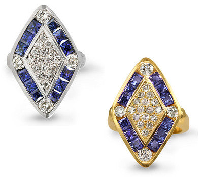 Diamond-Shaped Sapphire & Diamond Ring - 2.10 ctw. Sapphires