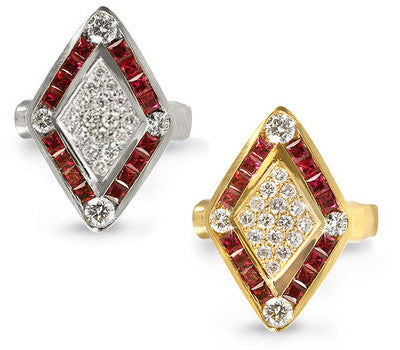 Diamond-Shaped Ruby & Diamond Ring - 1.00 ctw. Rubies