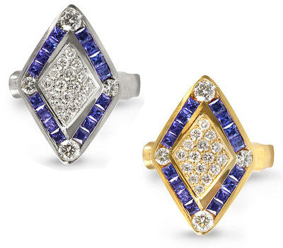 Diamond-Shaped Sapphire & Diamond Ring - 1.10 ctw. Sapphires
