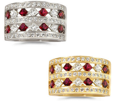 Double Row Ruby & Diamond Ring - 0.80 ctw. Rubies