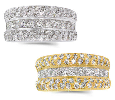 Pave & Channel Princess Diamond Band - 2.20 ctw.