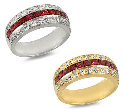 Ruby & Pave Diamond Ring - 1.30 ctw. Rubies