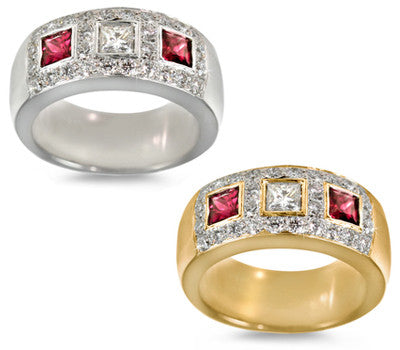 Princess-Cut Ruby & Diamond Ring - 0.45 ctw. Rubies