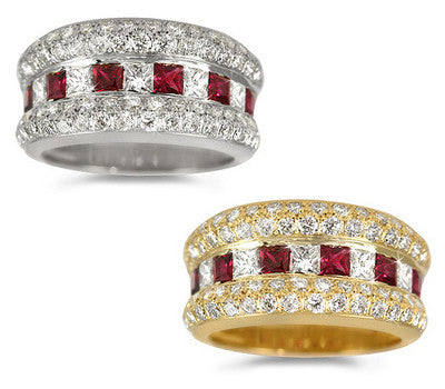 Princess-Cut Ruby & Diamond Ring - 0.70 ctw. Rubies