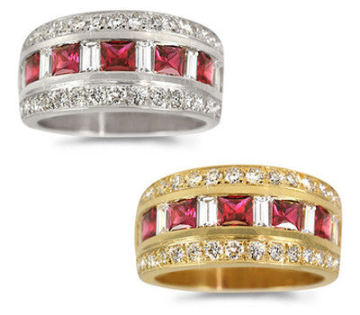 Single Row Ruby & Diamond Ring - 1.05 ctw. Rubies