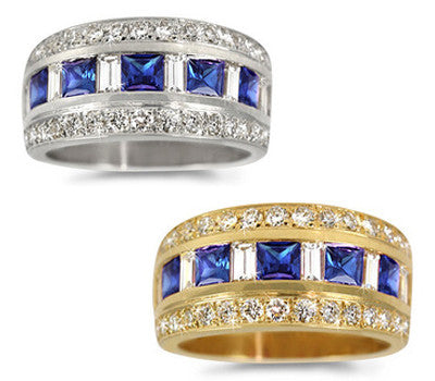 Single Row Sapphire & Diamond Ring - 1.15 ctw. Sapphires