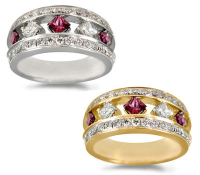 Diagonal Ruby & Diamond Ring - 0.55 ctw. Rubies