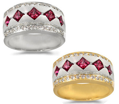 Ruby with Pave Border Ladies' Ring
