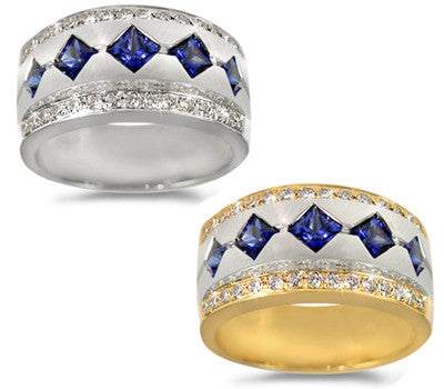 Sapphire with Pave Border Ladies' Ring