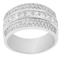 Custom Princess & Round Diamond Band - 1.55 ctw.