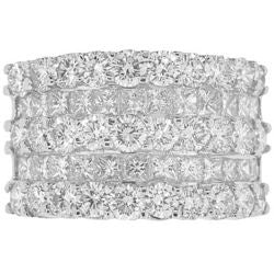 Five-Row Princess & Round Diamond Band - 4.10 ctw.