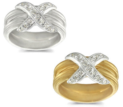Pave-Set Diamond Striped Band - 0.45 ctw.