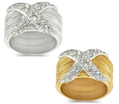 Large Pave-Set Diamond Striped Band - 0.70 ctw.