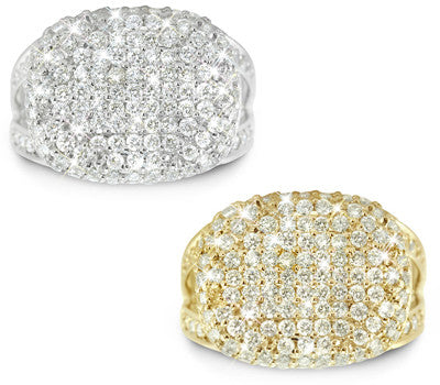 Magnificent And Fit For A Queen, Puffed, Rectangular-Rounded, Pave Set Diamond Band - 1.84 ctw.