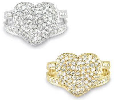 Double Bridge Pave Set Diamond Band with a Large Pave Set Diamond Heart - 1.10 ctw.