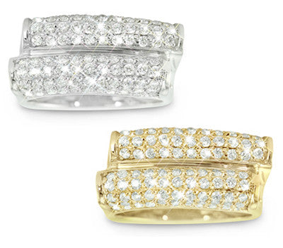 Sliding Double Row Diamond Band with Ten Rows of Dazzling Pave Set Melles - 1.19 ctw.