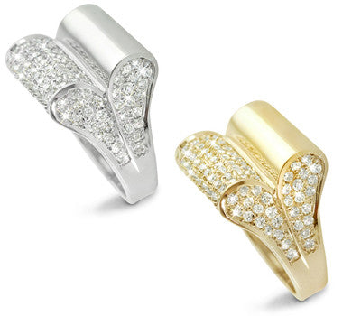 Bold and Modern Double Fold Pave Set Diamond Band - 1.78 ctw.