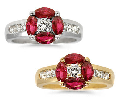 Ruby & Diamond Floral Ring - 1.15 ctw. Rubies