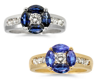 Sapphire & Diamond Floral Ring - 1.15 ctw. Sapphires