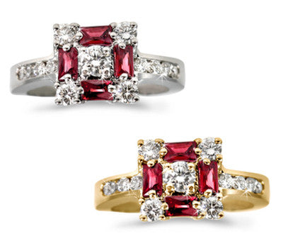 Ruby & Diamond Square Ring - 0.60 ctw. Rubies
