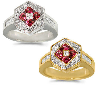 Regal Diamond & Ruby Ring - 0.35 ctw. Rubies