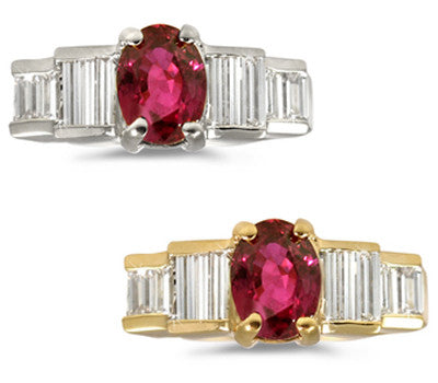 Oval Ruby & Baguette Diamond Ring - 1.75 ctw. Ruby
