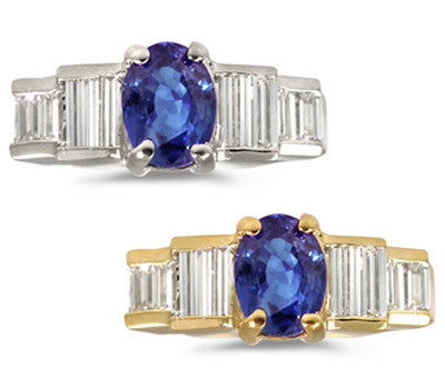 Oval Sapphire & Baguette Diamond Ring - 1.75 ctw. Sapphire