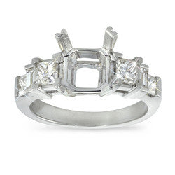 Princess and Baguette Alternating Stones Diamond Ring - 0.90 ctw.