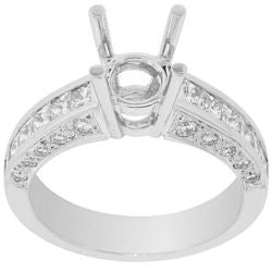 Tiara Round Diamond Semi-Mount Ring - 1.10 ctw.