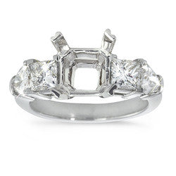 Princess & Shield Cut Diamond Semi-Mount Ring - 1.40 ctw.