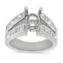 Double Bridge Princess Cut Diamond Semi-Mount Ring - 1.10 ctw.
