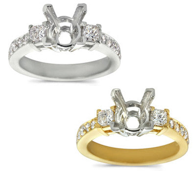 Traditional Princess and Pave Diamond Ring - 0.60 ctw.