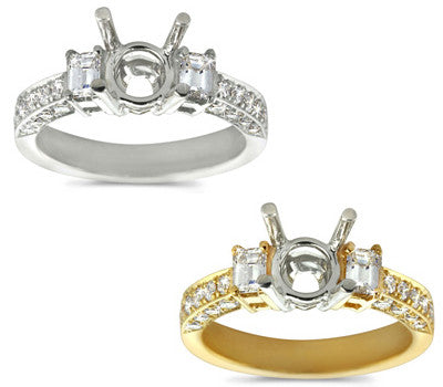 Classic Baguette and Pave Diamond Ring - 0.80 ctw.