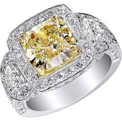 3.03 ct. Fancy Yellow Cushion Diamond on a Half Moon Platinum & 22K Yellow Gold Ring - 2.19 ctw.