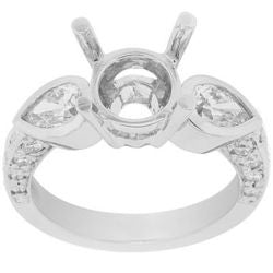 Butterfly Pear & Round Semi-Mount Ring - 0.80 ctw.