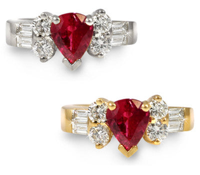 Pear-Shaped Ruby & Diamond Ring - 1.45 ctw. Rubies