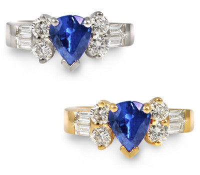 Pear-Shaped Sapphire & Diamond Ring - 1.45 ctw. Sapphires