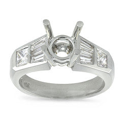 Bezel Set Princess And Baguette Diamond Ring - 0.90 ctw.