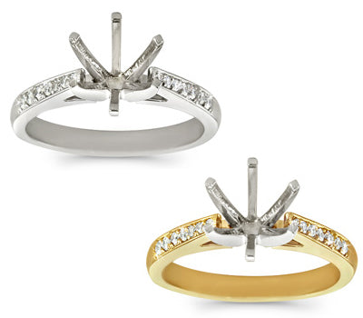 Simple One Row Pave Set Engagement Ring - 0.15 ctw.