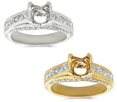 Elegant Channel and Pave Set Diamond Ring - 1.05 ctw.