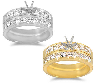 Channel-Set, Princess-Cut Diamond Wedding Set - 1.65 ctw.