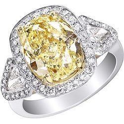 5.01 ct. Oval Fancy Yellow Diamond Ring in Polished Platinum & 22K Yellow Gold - 1.07 ctw.