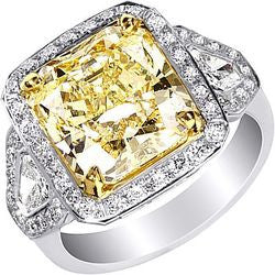 6.16 ct. Fancy Yellow Radiant Cut Bullet & Pave Platinum & 22K Yellow Gold Diamond Ring - 1.15 ctw.